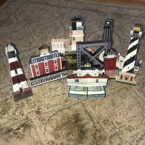 Seven hand painted lighthouses made in the USA